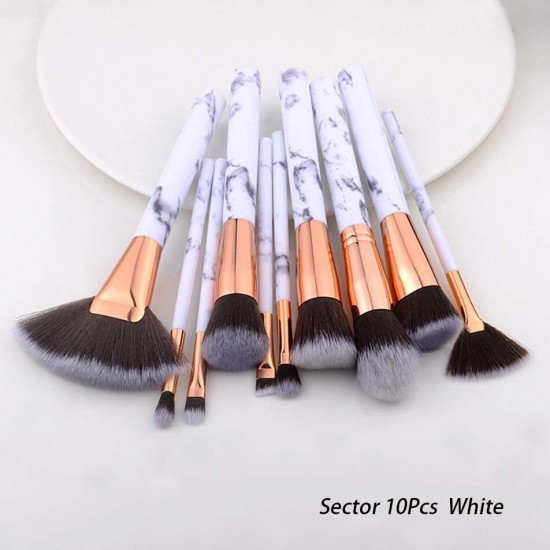FLD Cosmetic Powder Eye Shadow Foundation Blush Blending Beauty Make Up Brush 10Pcs Black Makeup Brushes Tool Set