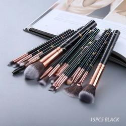 FLD Cosmetic Powder Eye Shadow Foundation Blush Blending Beauty Make Up Brush 15Pcs Black Makeup Brushes Tool Set